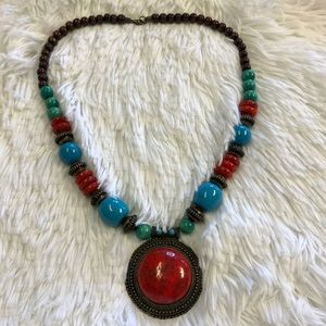 Multi Colored Turquoise beaded Statement Necklace